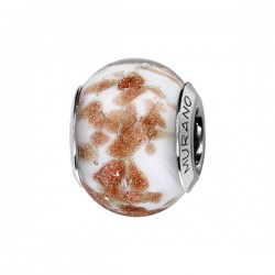 CHARMS COULISSANT ARGENT RHODIE MURANO FOND BLANC PAILLETE