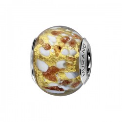 CHARMS COULISSANT ARGENT RHODIE MURANO DORE PAILLETE