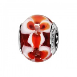 CHARMS COULISSANT ARGENT RHODIE MURANO VIOLETTE FLEUR ROUGE