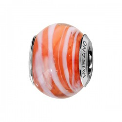 CHARMS COULISSANT ARGENT RHODIE MURANO ORANGE FILET BLANC