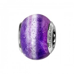 CHARMS COULISSANT ARGENT RHODIE MURANO VIOLET FOND PAILLETE
